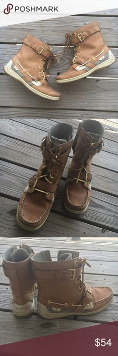 """Womens Sperry Topsider Boots Classic """"boat shoe"""" in a low-calf boot style. Very cute with leggings or skinny jeans during the fall season. Pair them with a long sleeve tee or flannel and scarf and you have a cute and comfortable outfit! Sperry Top-Sider Shoes Ankle Boots & Booties"""