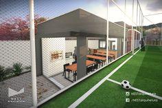 2|3 ÁREA DE APOIO SOCIETY - Projeto Arquitetônico para área de apoio de campo de futebol society em Criciúma - SC #comercial #futebol #campodefutebol #lazer