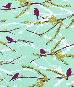 Joel Dewberry Sparrows Plum Fabric - $8.9 | onlinefabricstore.net