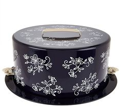 You've got dessert covered. Temp-tations lends their signature Floral Lace design to this covered cake carrier, perfect for cakes, pies, and other desserts. Page 1 Qvc Shopping, Two Layer Cakes, Cake Carrier, Royal Tea, Retro Apron, Cake Cover, Lace Design, Floral Design, Coffee Cans