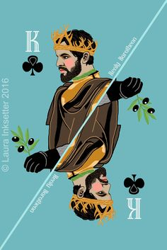 Game of Thrones Playing Cards - King of Clubs (Renly Baratheon) Game Of Thrones Facts, Game Of Thrones Quotes, Game Of Thrones Funny, Hbo Game Of Thrones, Carte Got, Dessin Game Of Thrones, Catelyn Stark, Game Of Throne Actors, Game Of Thones