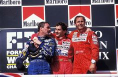 f1pictures:  Senna , Mansell , Berger Hungaroring 1992
