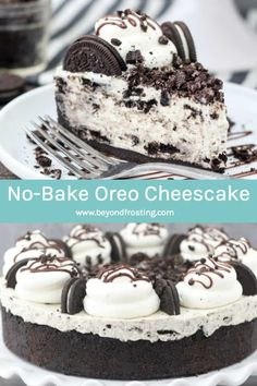 This is the BEST No-Bake Oreo Cheesecake! The Oreo crust is filled with no-bake white chocolate cheesecake and loaded with Oreo cookies. This Oreo Cheesecake filling is made with homemade whipped cream, so there's no Cool Whip here. This cheesecake is ir No Bake Cheesecake Filling, Chocolate Cheesecake Recipes, Cheesecake Crust, Baked Oreo Cheesecake Recipe, Oreo Cheesecake Bites, Cookies And Cream Cheesecake, No Bake Desserts, Delicious Desserts, Dessert Recipes