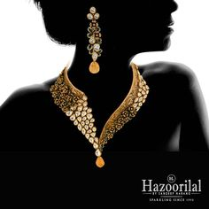 """#FlowerPower . Gold necklaces inspired by floral motifs rule our collection this year. #Hazoorilal #HazoorilalBySandeepNarang"""