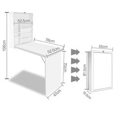 Fold-out desk. Sturdy construction - Hinged desk for great stability. 1 X Fold Away Desk. Easy space saving fold away. Fold Away Table, Fold Away Desk, Fold Out Desk, Folding Desk, Bookshelf Desk, Bookcase Storage, Table Storage, Bookshelves, Storage Spaces