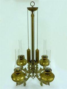 Antique Brass Bronze Victorian Style Oil Lamp Chandelier Duplex England | eBay