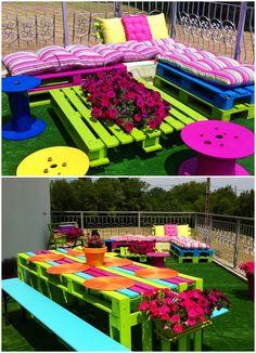 Pallets-land: colorful terrace #Lounge, #Pallet, #Terrace