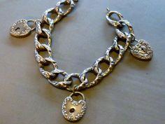 Vintage Antique Victorian Sterling Silver Heart Lock Charm Bracelet | eBay