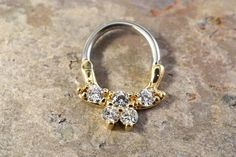 14g or 16g Gauge Gold Crystal Bow Septum Ring Clicker Daith Ring Nose Piercing