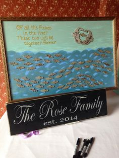Wedding guest book~ fishes in the river.