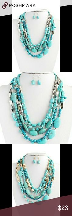"""TURQUOISE MULTI STRAND NECKLACE SET Revamp your ensemble with the vibrant turquoise beads of this multi-strand necklace and matching earrings. Color: Gold, Silver Material: Base Metal, Turquoise Stone, Acrylic Beads, Rhodium CC Beads Closure: Lobster Clasp Measurement: 3"""" Extender, L 10.5"""" Earrings L 1.5"""" Jewelry Necklaces"""