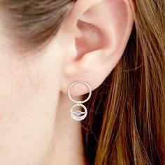 Foam Circle Earring, Silver