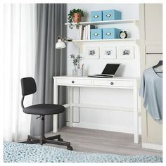 IKEA - HEMNES, Desk with 2 drawers, white stain, Solid wood is a durable natural material. Coordinates with other furniture in the HEMNES series. Ikea Hemnes Desk, Ikea Desk, Drawer Lights, Ikea Living Room, Living Rooms, Bedroom Desk, White Stain, Home Desk, Grey Oak