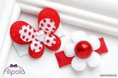 akcesoria - ozdoby do włosów-Filipola Spinki do włosów kwiatek + kokardka