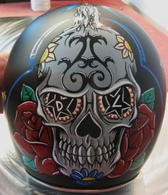 The latest helmet i have painted all with and all hand painted with brushes. Custom Motorcycle Helmets, Custom Helmets, Motorcycle Art, Bike Art, Bike Helmets, Rockers, Motos Vintage, Skull Helmet, Crane