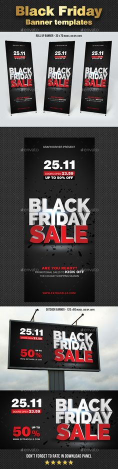 Black Friday Sale Rollup Banners Template PSD #design