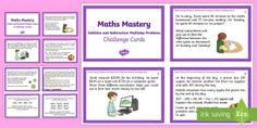 Year 5 Addition and Subtraction Multistep Problems Challenge Cards - Year 4, Year 5, Year 6 maths, mathematics, numeracy, problem solving, fast finisher, addition, subtr