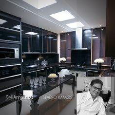 Tons sóbrios e acabamentos Dell Anno deram equilíbrio para o projeto do espaço gourmet.
