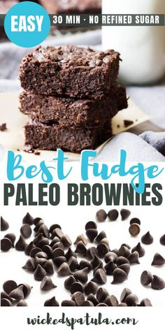 Paleo Brownies - The BEST paleo chocolate brownies ever! Learn how to make fudgy paleo brownies with almond flour. This easy paleo brownie recipe takes just 30 minutes. Paleo Chocolate Brownies, Paleo Fudge, Almond Flour Brownies, Brownie Recipes, Healthy Chocolate, Chocolate Desserts, Best Gluten Free Recipes, Paleo Recipes Easy, Paleo Dessert
