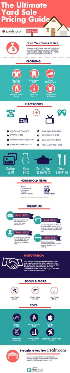Looking for tips on how to figure out garage sale prices? Check out the Ultimate Garage Sale Pricing Guide. Plus, more tips to run a successful yard sale! Garage Sale Pricing, Garage Sale Tips, Garage Ideas, Yard Sale Organization, Organization Ideas, Organizing Life, Diy Yard Decor, Rummage Sale, Sun Catcher