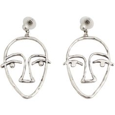 Face Earrings ($12) ❤ liked on Polyvore featuring jewelry, earrings, metal jewelry, cuff earrings, mango jewelry, earring cuff jewelry and earrings jewellery