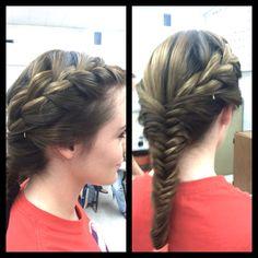 French braid into fishtail. Hair Doo, My Hair, Ball Hairstyles, Hair Skin Nails, French Braid, Love Hair, Fishtail, Cut And Style, Hair Inspo