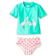Just One You™ Made by Carter's® Toddler Girls' Pink Flamingo Rash Guard Swimsuit Set : Target