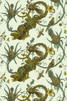 Timorous Beasties Fabric - Iguana - there is a 100% chance that, if this fabric was affordable, I would have a chair upholstered in this.