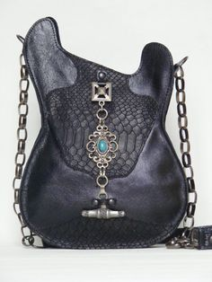 Leather purse. Black. Handmade Eco Sustainable Leather Bag. Gothic. Guitar Shaped Bag. Stratocaster. Snake-stamped Leather Strato Bag