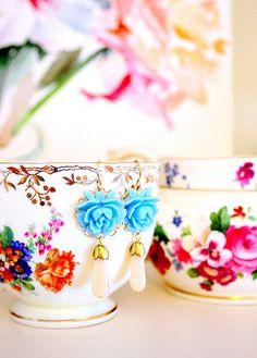 Blue Rose Earrings by nestdecorating via Flickr