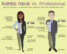 Business casual vs. Professional - decode the dress code #infografía