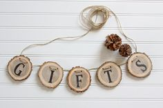 Custom listing for Jen, (Gifts/Favors Banner) Gift Table Signs, Baby Shower Gifts, Shower Baby, Baby Showers, Jute Twine, Wood Slices, Wedding Anniversary, Rustic Wedding, Bridal Shower