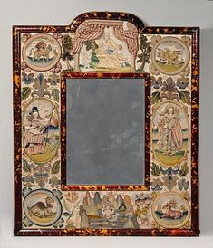 Mirror with intricate stitching framed in tortoise-English 1672