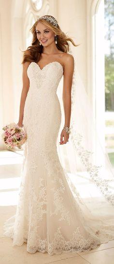 Stella York strapless sweetheart lace wedding dresses