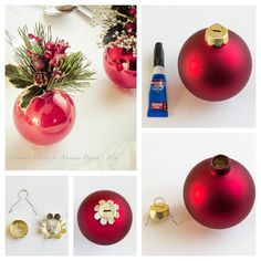 Remove top from ornament, glue to bottom, add flowers, and voila! Beautiful Christmas centerpieces