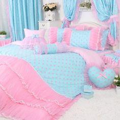 Amazon.com - DIAIDI Home Textile, Princess Lace Ruffle Duvet Cover Bedding Sets, Blue And Pink Polka Dot Bedding Set, Twin Queen King, 4Pcs ...