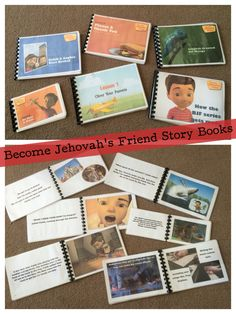 Some of the completed storybooks. If you'd like the PDFs I can email them to you. :)  Books completed so far are:-   How the BJF Series Gets Made.   Lesson 1–Obey Your Parents,   Lesson 3–Pray Anytime,   Lesson 4–Stealing is Bad,   Lesson 5–Let's Go in Service,   Lesson 6–Please & Thank-You,   Lesson 7–Giving Makes You Happy,   Lesson 8–Be Neat and Clean,   Lesson 9–Jehovah Created All Things,   Lesson 10–Be Kind and Share,   Lesson 11–Forgive Freely,   Lesson 12–Caleb & Sophia Visit Bethel