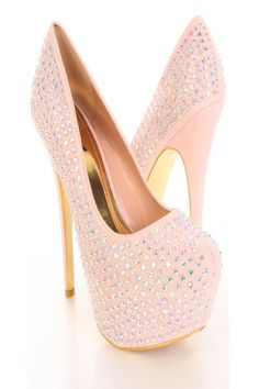 Nude Faux Suede Iridescent Faceted Beaded Platform Pump Heels / Sexy Clubwear | Party Dresses | Sexy Shoes | Womens Shoes and Clothing | AMI CLubwear
