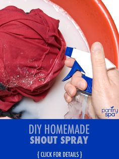 Getting stains off clothing is a daily battle for most mothers, and the best way to keep costs down is making your own cleaning products, like this DIY Shout.