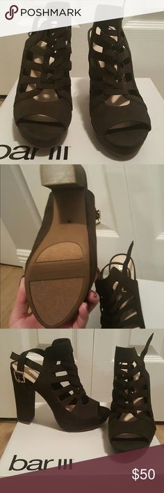 Macy's bar iii Olive green chunky heel sandal Lace up olive green block heeled sandaL. NEVER worn. Still with box Bar III Shoes Sandals