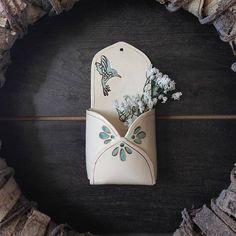 Garden Art - Ceramic Wall Pocket - Flower Holder - Flower Vase - Ceramic Envelope - Rustic Home Decor - Boho Ceramic Decor