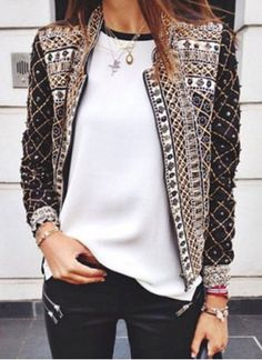 Fashionable Stand Collar Long Sleeves Studded Jacket For Women