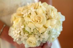 Image Detail for - White gardenia, hydrangea, ranunculus, and stephanotis make up this ...