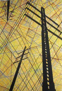 Power lines II Industrial Modern art screenprint poster by Dan Clarke Project 3 Artist Urban Landscape, Abstract Landscape, Landscape Design, Modern Industrial, Industrial Furniture, Industrial Stairs, Industrial Apartment, Industrial Bedroom, Apartment Lighting