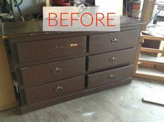 s 10 surprising ways to turn old furniture into extra seating, painted furniture, Before An old and battered dresser