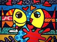 Deeply in Love - Romero Britto. DATE NIGHT Divide the painting into two parts - the male fish and the female fish on two separate panels, for couple's painting. He/she can each paint one panel. Paz Hippie, Tableau Design, Arte Country, Graffiti Painting, Art Plastique, Famous Artists, Graphic, Painting Inspiration, Art Lessons