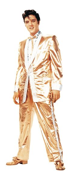 Elvis Presley wearing the famous gold lamé suit, designed by Nudie Cohn in 1957.