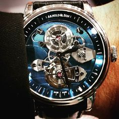 Arnold and Son TES tourbillon.  I've been in this industry for 9 years.  It's not often that I'm blown away by a timepiece anymore but this did today.  The depth of the sapphire blue dial is remarkable.  Dan@romantimeslasvegas.com  @arnoldandson @romantimes #tourbillontuesday #tourbillon #arnoldandson  #swiss #timepiece #wristwatch #watches #watchoftheday #horology #mensfasion #watchgeek #watchlover #style #watchcollector #Photooftheday #Beautiful #Picoftheday #Art #Look #Nice #Instapic…