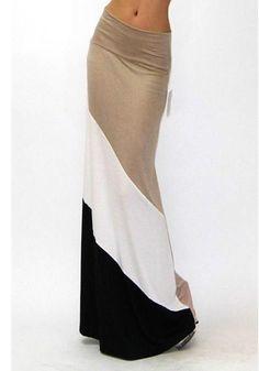 Khaki Patchwork Print Pleated High Elastic Waist Floor Length Skirt - Skirts - Bottoms