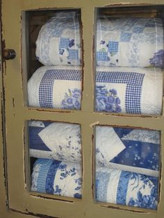 Blue and White Quilts. These re beautiful...remember, never turn down a beautiful quilt...it will call to you forever...